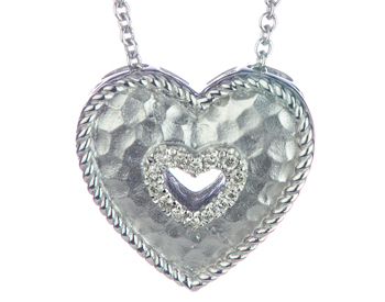STERLING SILVER HAMMERED OPEN HEART AND ROUND DIAMOND PENDANT