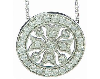 14K WHITE GOLD ROUND MILLEGRAIN FANCY DIAMOND PENDANT