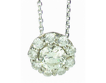 14K WHITE GOLD ROUND DIAMOND HALO PENDANT