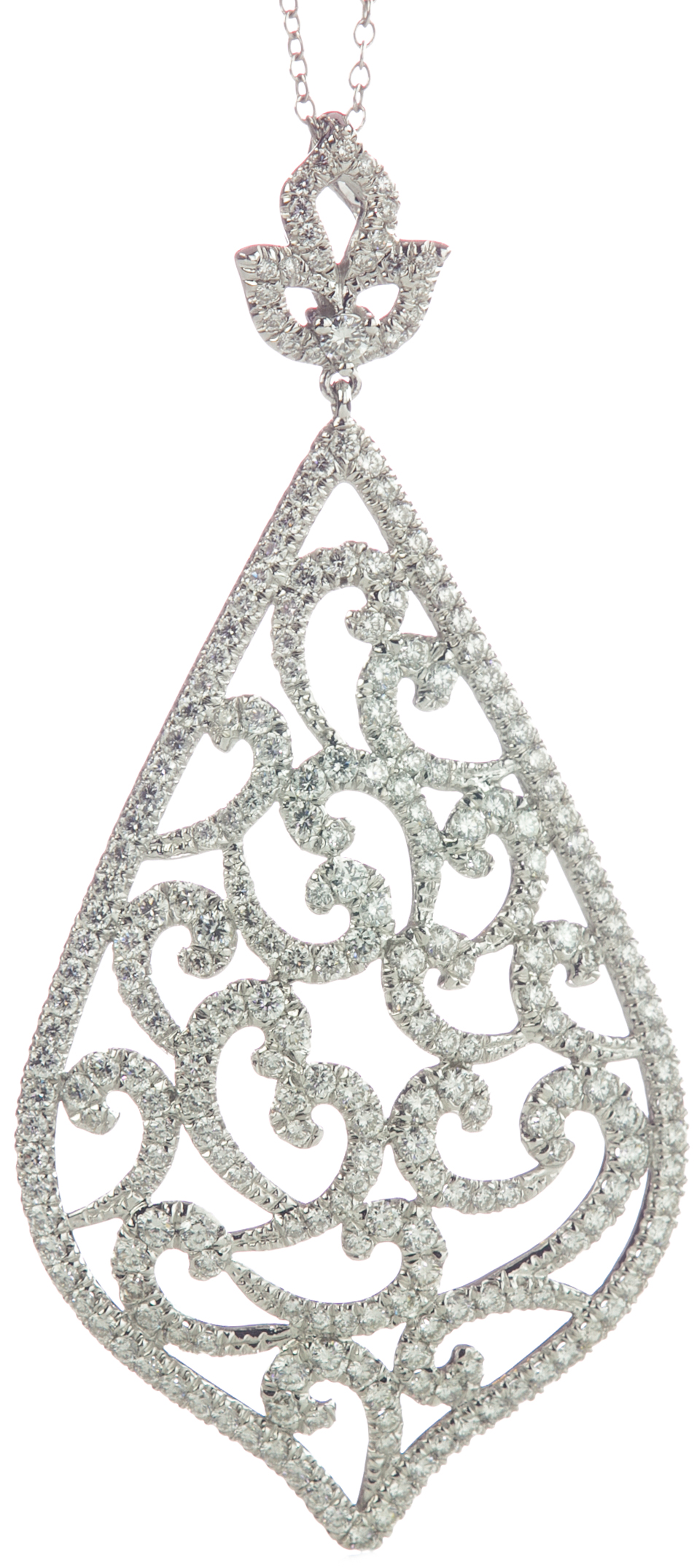 18K WHITE GOLD PEAR SHAPED PAVE DIAMOND PENDANT