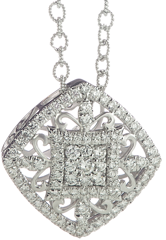 14K WHITE GOLD SQUARE SHAPED AND FILIGREE DESIGN DIAMOND PENDANT