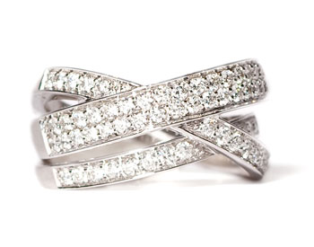 14K WHITE GOLD ROUND PAVE DIAMOND 3 ROW CROSSOVER RING