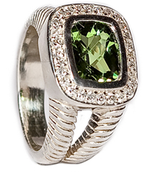 SILVER CUSHION PERIDOT AND PAVE DIAMOND RING