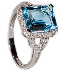 3.97CT EMERALD CUT BLUE TOPAZ AND PAVE DIAMOND RING