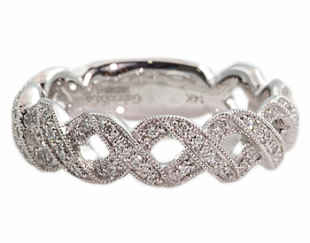 "14K WHITE GOLD ""X"" DESIGN DIAMOND STACK BAND"