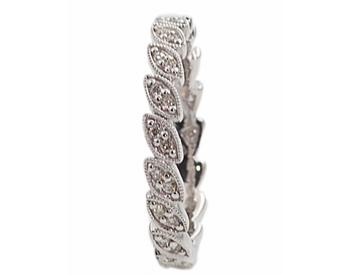14k White Gold Marquise Shaped Bead Set Diamond Stack Band
