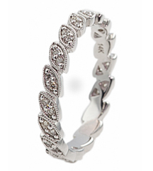14K WHITE GOLD MARQUISE SHAPED BEAD SET DIAMOND STACK BAND