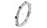14K WHITE GOLD ROPE DESIGN AND BEZEL SET ROUND SAPPHIRE STACK BAND