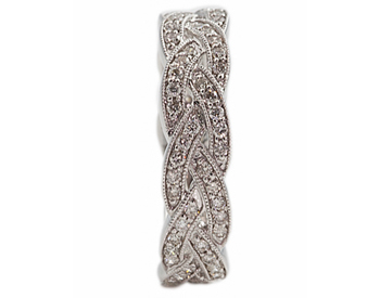 14K WHITE GOLD BRAIDED DESIGN PAVE DIAMOND STACK BAND