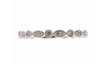 14K WHITE GOLD ROUND AND MARQUISE SHAPED BEAD SET DIAMOND STACK BAND