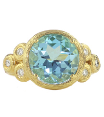 14K YELLOW GOLD 3 STONE BLUE TOPAZ AND DIAMOND RING