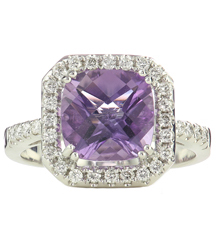 14K WHITE GOLD CUSHION AMETHYST AND DIAMOND RING