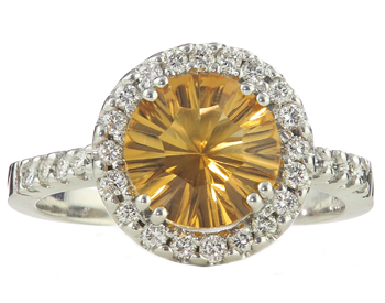 14K WHITE GOLD ROUND CITRINE AND DIAMOND RING