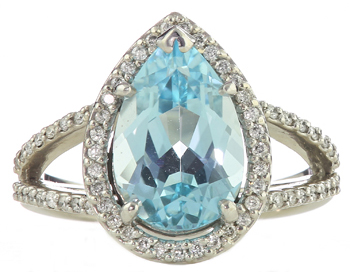14k White Gold Pear Shaped Sky Blue Topaz And Round