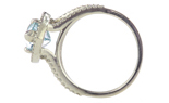 14K WHITE GOLD PEAR SHAPED SKY BLUE TOPAZ AND ROUND DIAMOND RING