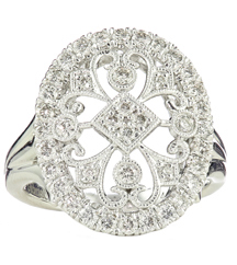 14K WHITE GOLD OVAL TOP DIAMOND RING