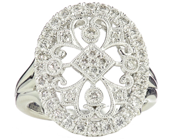 14K WHITE GOLD OVAL TOP MILLEGRAIN AND FILIGREE DIAMOND RING