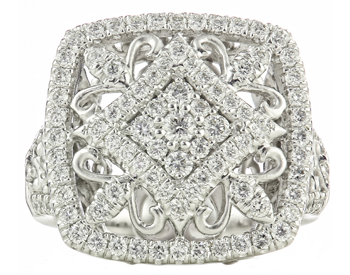 18K WHITE GOLD ROUND DIAMOND FANCY FILIGREE DESIGN CUSHION TOP RING