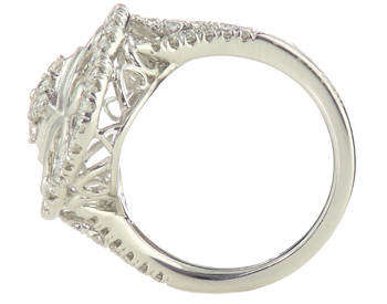 18K WHITE GOLD ROUND DIAMOND AND FANCY SCALLOPED FILIGREE TOP RING