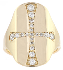14K YELLOW GOLD DIAMOND AND CROSS DESIGN SIGNET RING