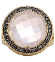 14K YELLOW GOLD ROSE QUARTZ AND BROWN DIAMOND RING