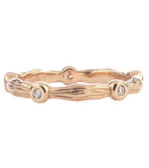 14K ROSE GOLD AND DIAMOND BARK DESIGN STACK RING