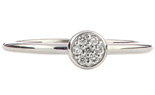 14K WHITE GOLD ROUND TOP PAVE DIAMOND STACK BAND