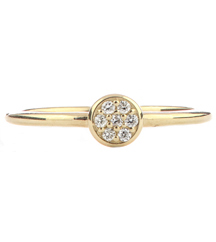 14K YELLOW GOLD ROUND TOP PAVE DIAMOND STACK BAND
