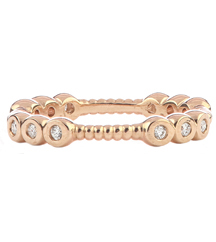 14K ROSE GOLD ROPE DESIGN AND TRIPLE BEZEL SET DIAMOND SECTIONED STACK BAND