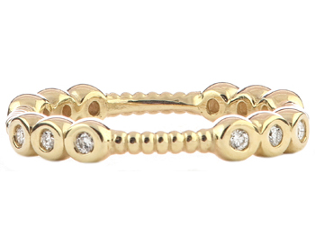 14K YELLOW GOLD ROPE DESIGN AND TRIPLE BEZEL SET DIAMOND SECTIONED STACK BAND