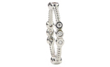 14K WHITE GOLD ROPE DESIGN AND TRIPLE BEZEL SET DIAMOND SECTIONED STACK BAND
