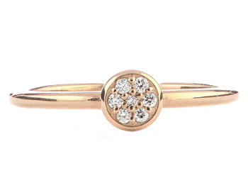 14K ROSE GOLD ROUND TOP PAVE DIAMOND STACK BAND