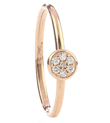14K ROSE GOLD STACK RING WITH PAVE CIRCLE