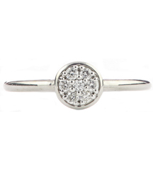 14K WHITE GOLD STACK RING WITH PAVE CIRCLE