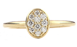 14K YELLOW GOLD OVAL TOP PAVE DIAMOND STACK BAND
