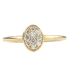 14K YELLOW GOLD PAVE OVAL STACK RING