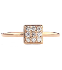 14K ROSE GOLD RING WITH PAVE DIAMOND SQUARE