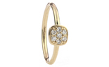 14K YELLOW GOLD CUSHION TOP PAVE DIAMOND STACK BAND