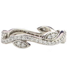 14K WHITE GOLD LEAF AND VINE DESIGN ROUND DIAMOND STACK BAND