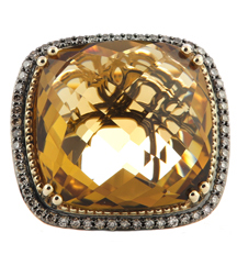14K YELLOW GOLD HONEY QUARTZ AND COGNAC DIAMOND RING