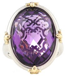 14K TWO TONE AMETHYST RING