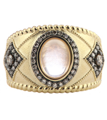 14K YELLOW GOLD ROSE QUARTZ AND COGNAC DIAMOND RING