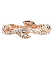 14K ROSE GOLD LEAF AND VINE DESIGN DIAMOND STACK RING