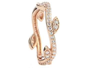 14K ROSE GOLD LEAF AND VINE DESIGN ROUND DIAMOND STACK BAND