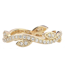 14K YELLOW GOLD LEAF AND VINE DIAMOND STACK RING