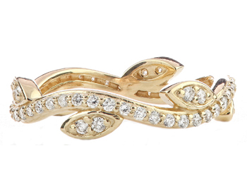14K YELLOW GOLD LEAF AND VINE DESIGN ROUND DIAMOND STACK BAND