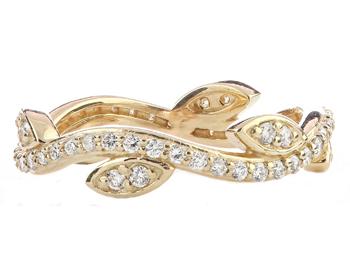 14k Yellow Gold Leaf And Vine Design Round Diamond Stack