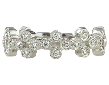 14K WHITE GOLD BEZEL SET ROUND DIAMOND CLUSTER DESIGN STACK BAND