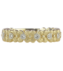 14K YELLOW GOLD 4MM FLOWER DIAMOND STACK BAND