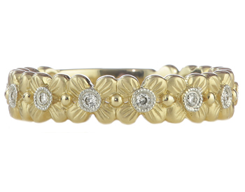 14K YELLOW GOLD FLOWER DESIGN BEZEL SET ROUND DIAMOND STACK BAND